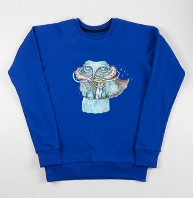 Снежный мамонт - Cвитшот женский, синий 320гр, стандарт, Популярные