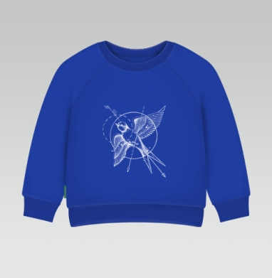 Cвитшот Детский Синий 320гр, стандарт - Ласточка в стиле тату