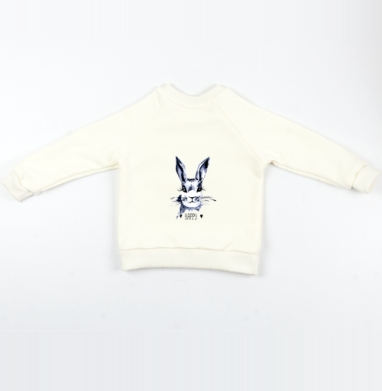 Cвитшот Детский Экрю 320гр, стандарт - Серый зайка