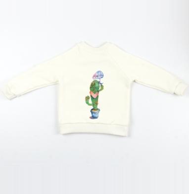 Вязаный кактус - Cвитшот Детский Экрю 320гр, стандарт, Популярные