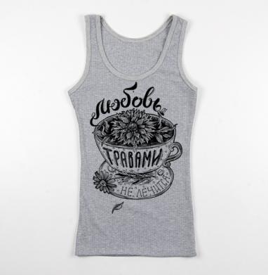 Майка Женская серый меланж рибана 200гр, серый-меланж - Интернет магазин футболок №1 в Москве