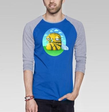 Пчела с ромашкой - Футболка мужская с длинным рукавом синий / серый меланж, лето, Популярные