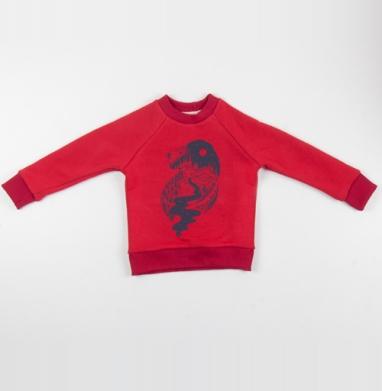 Таинственный лев - Cвитшот Детский красный 340гр, теплый, Популярные