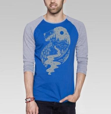 Таинственный лев - Футболка мужская с длинным рукавом синий / серый меланж, горы, Популярные