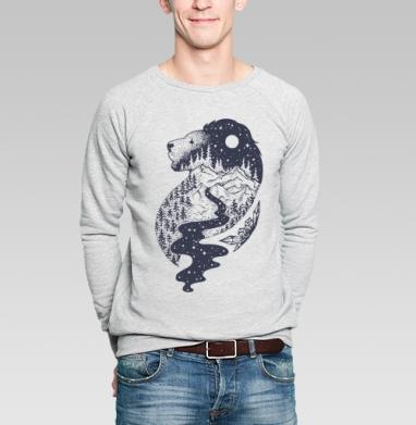 Таинственный лев - Свитшот мужской серый-меланж  320гр, стандарт