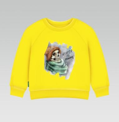 Зима лед Близко, Cвитшот Детский желтый 240гр, тонкая