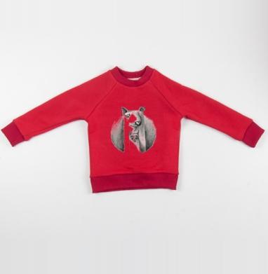 Cвитшот Детский красный 340гр, теплый - Дружба