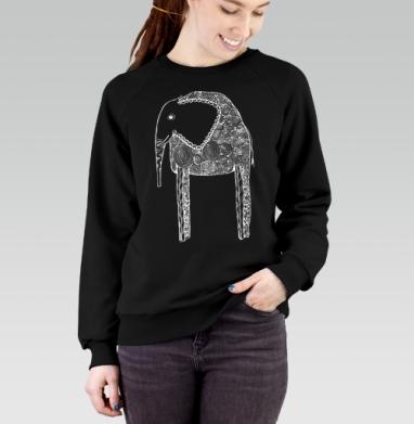 Черно-белый слон, Cвитшот женский черный 340гр, теплый
