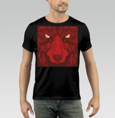 Квадратный волк - Футболка мужская чёрная 140гр, тонкая, Популярные