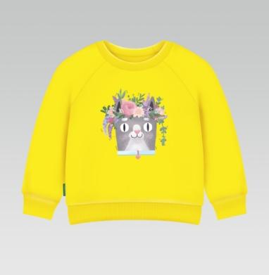 Весенний Кот Перкинс, Cвитшот Детский желтый 240гр, тонкая