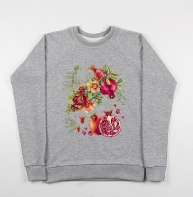 Гранат. Ботаническая акварель - Cвитшот женский серый-меланж 340гр, теплый, Популярные