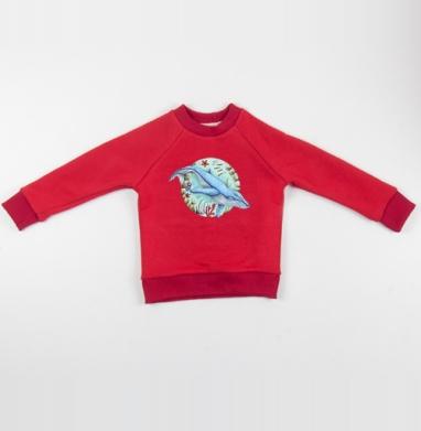 Кит под водой - Cвитшот Детский красный 340гр, теплый, Популярные