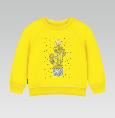 Новогодний кактус, Cвитшот Детский желтый 240гр, тонкая