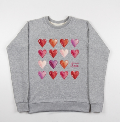Всё что нам нужно - это только любовь - Cвитшот женский серый-меланж 340гр, теплый, Популярные