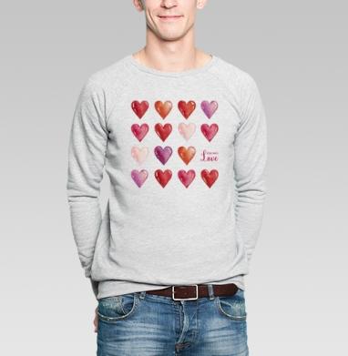 Всё что нам нужно - это только любовь - Свитшот мужской серый-меланж  320гр, стандарт