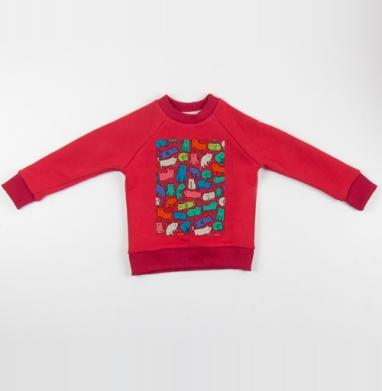 Киттикэтс - Cвитшот Детский красный 340гр, теплый, Популярные