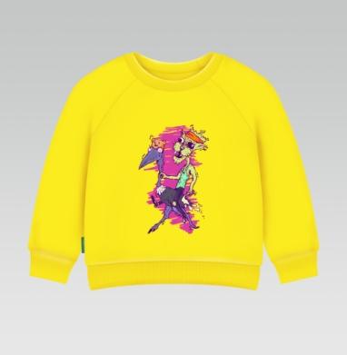 Кот по кличке Кутёж, Cвитшот Детский желтый 240гр, тонкая
