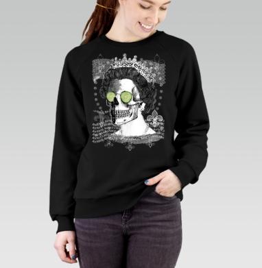 Череп в короне, Cвитшот женский черный 340гр, теплый