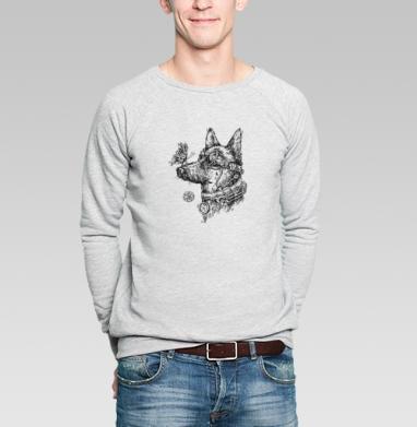 Пес-путешественник во времени - Свитшот мужской серый-меланж  320гр, стандарт