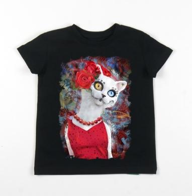 Детская футболка черная хлопок с лайкрой 140гр - Белая кошка ко дню мертвых