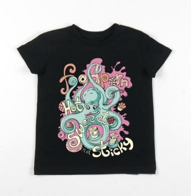 Детская футболка черная хлопок с лайкрой 140гр - Фудпорн