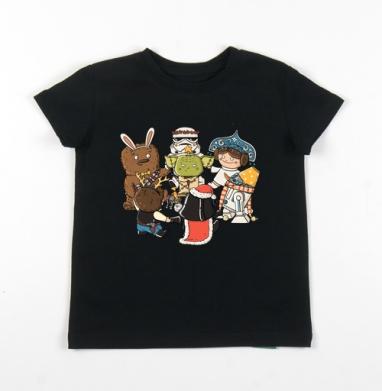 Детская футболка черная хлопок с лайкрой 140гр - Новый год в одной далёкой-далёкой галактике..