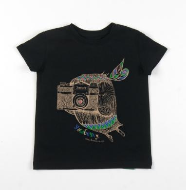 Детская футболка черная хлопок с лайкрой 140гр - Улыбочку, сейчас вылетит птичка !