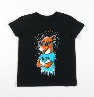Детская футболка черная хлопок с лайкрой 140гр - WTF?