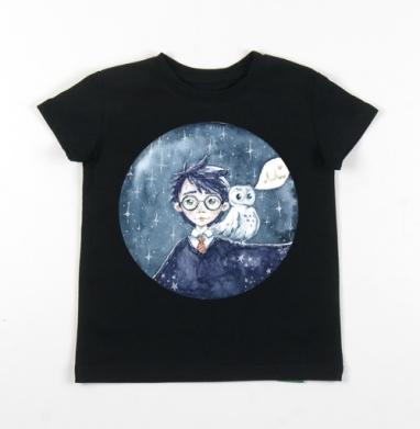 Детская футболка черная хлопок с лайкрой 140гр - Гарри и букля