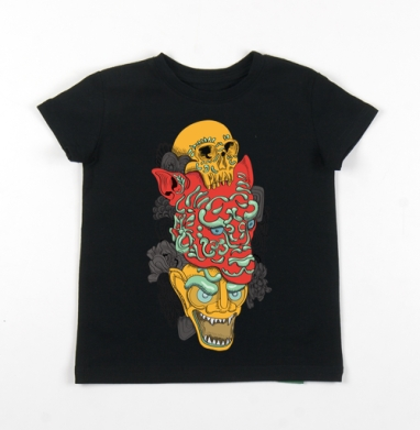 Детская футболка черная хлопок с лайкрой 140гр - Тотем.jpg