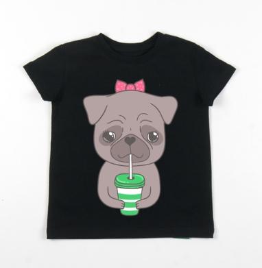 Детская футболка черная хлопок с лайкрой 140гр - Бонни