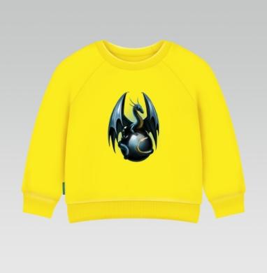 Дракон на стеклянном шаре - Cвитшот Детский желтый 240гр, тонкая, Популярные