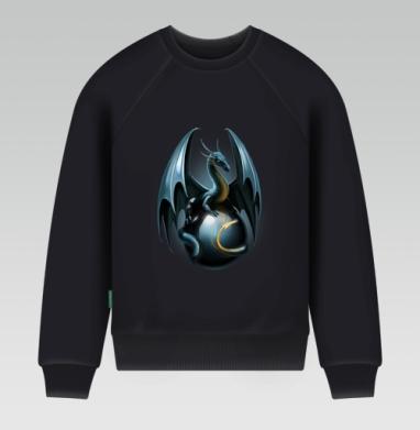 Дракон на стеклянном шаре - Свитшот мужской черный 320гр, стандарт, Популярные