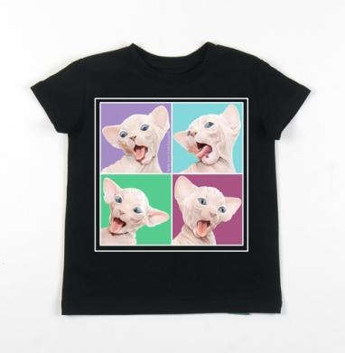 Детская футболка черная хлопок с лайкрой 140гр - Фейсбилденг