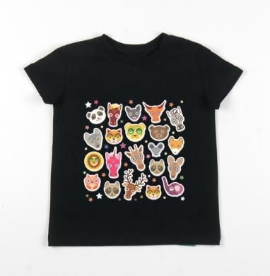 Детская футболка черная хлопок с лайкрой 140гр - Животные панда олень жираф зебра слон лев кот волк лошадь лиса енот