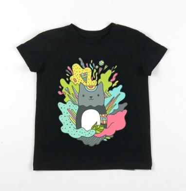 Детская футболка черная хлопок с лайкрой 140гр - Котей