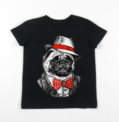 Детская футболка черная хлопок с лайкрой 140гр - Мопс босс