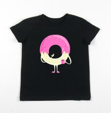 Детская футболка черная хлопок с лайкрой 140гр - Пончо