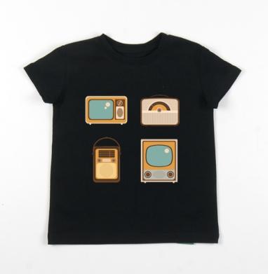 Детская футболка черная хлопок с лайкрой 140гр - Ретро радио