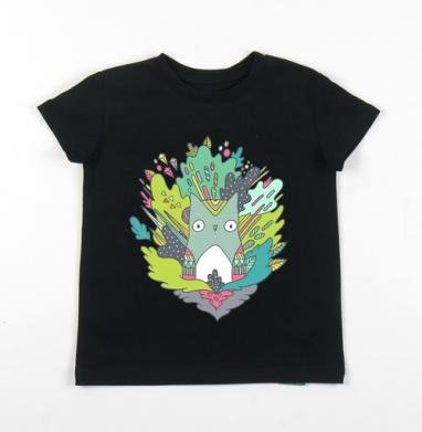 Детская футболка черная хлопок с лайкрой 140гр - Совик