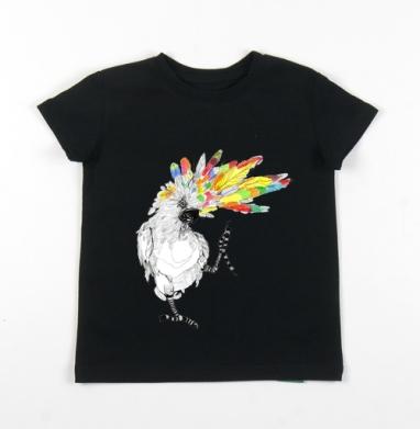 Детская футболка черная хлопок с лайкрой 140гр - ТАНЦЫ попугайцы