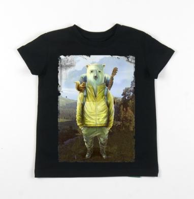 Детская футболка черная хлопок с лайкрой 140гр - В поход