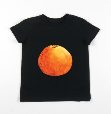 Детская футболка черная хлопок с лайкрой 140гр - Апельсин