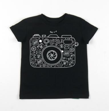Детская футболка черная хлопок с лайкрой 140гр - Фотолайф