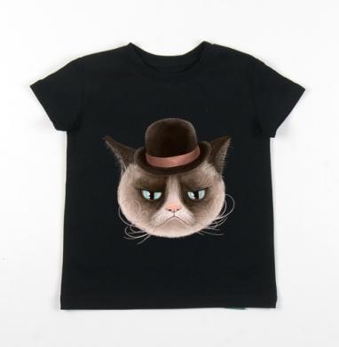 Детская футболка черная хлопок с лайкрой 140гр - Грустнячи котег