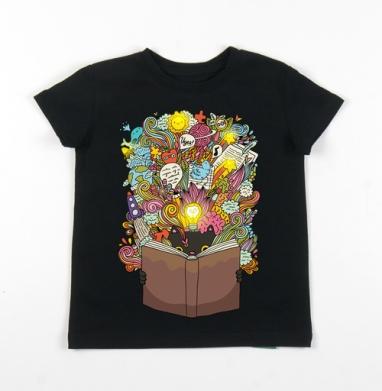 Детская футболка черная хлопок с лайкрой 140гр - Кот ученый