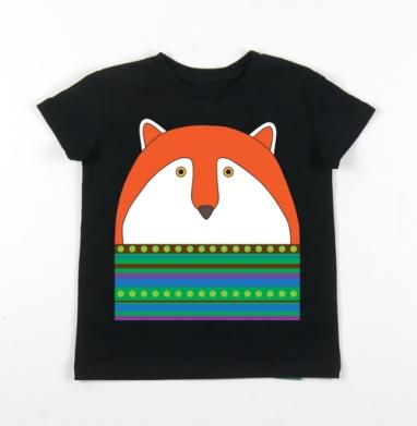 Детская футболка черная хлопок с лайкрой 140гр - Лис