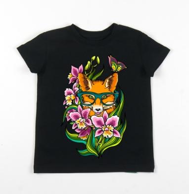 Детская футболка черная хлопок с лайкрой 140гр - Лиса в очечах