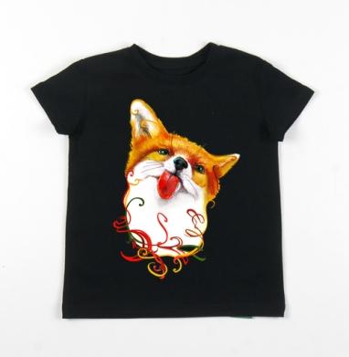 Детская футболка черная хлопок с лайкрой 140гр - Лисёнок  АКВАРЕЛЬКА