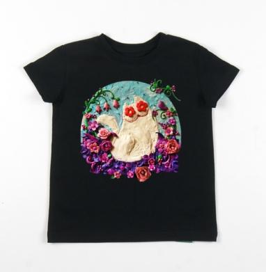 Детская футболка черная хлопок с лайкрой 140гр - Мартовский Мур